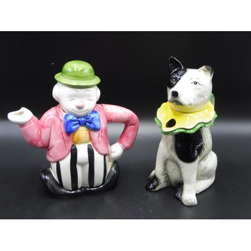 47 - Two Themed Tea Pots including Toby Wood Circus Dog and Clown...