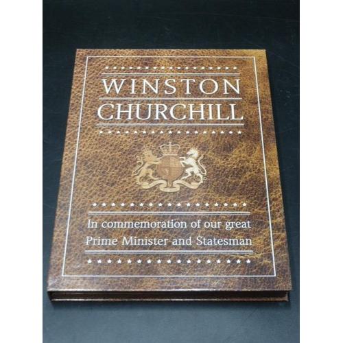 14 - Winston Churchill Commemorative Folder, including Large Gold Plated Medillion...
