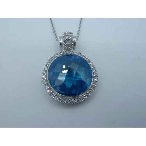 17 - Silver 925 necklace and pendant with Large Blue stone in presentation box...