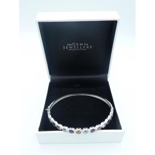 19 - Silver 925 Bangle with Multi coloured stones in presentation box...