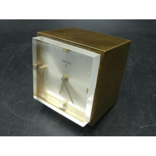 20 - Vintage Swiza 8 Cube Travel Alarm Clock , Brass case...