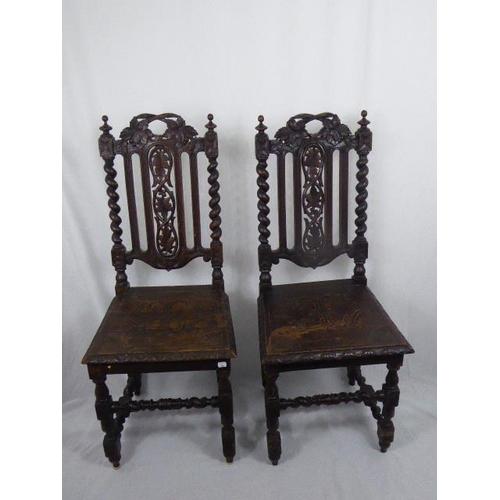 27 - Pair Antique Victorian Gothic Oak Chair's (42