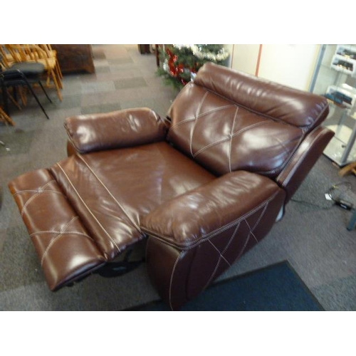 28 - A Very Large Luxurious Leather Electric Recliner Burgundy with White Stitch Decoration...
