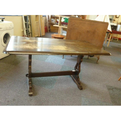 30 - Dinning room table with four chairs and two carvers...