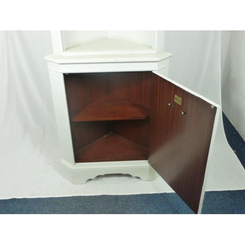 33 - Vintage Corner Cabinet with Glass Shelves and Storage (in two Pieces)...