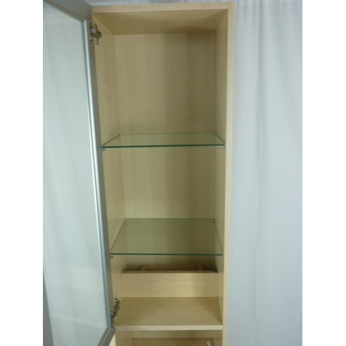 38 - Contemporary 4 Drawer Display Cabinet with Glass Door and 2 Shelves...