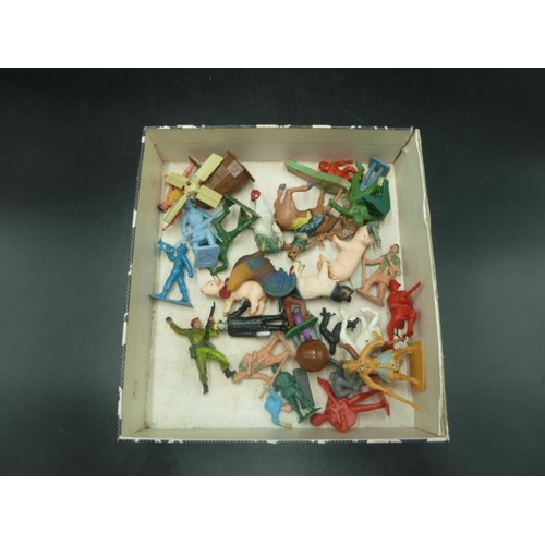 40 - Mixed Box Of Playworn Figurines...