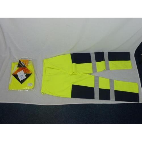 47 - HI-viz fire retardant rain pants size Large and hi-viz Fire retardant canvas trousers (Size 34)...