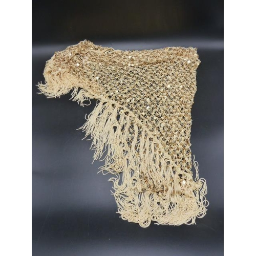 54 - Delicate Lace Shaul Decorated with Gold Coloured Counters...