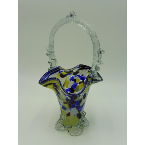 10 - Two Murano Splatter Glass Baskets (10