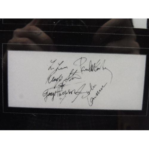 4 - Framed and Glazed Signed Print of the Beatles (12 1/2