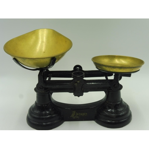 11 - Set of Vintage Weighing Scales complete with Brass Pans and Set of 7 Bell Weights from 1lb  to Quart...
