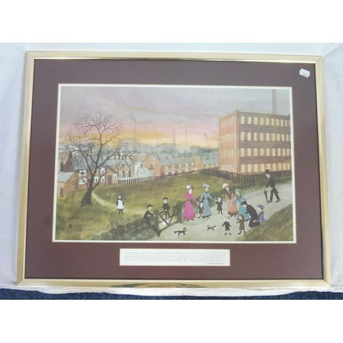 14 - Framed and Glazed Print depicting Factory Scene by Helen Bradley...