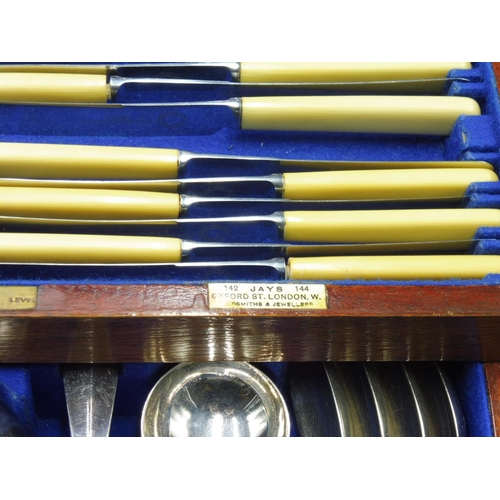 15 - An early 20th Century Canteen of Flatware and Cutlery, retailed by Jays of 142-144 Oxford Street, Lo...