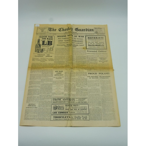 17 - Original 1939 Copy of The Chorley Guardian (Reporting on the Second Week of War)...