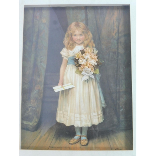 21 - Boxed Framed and Glazed Print Depicting Girl with Flowers (26