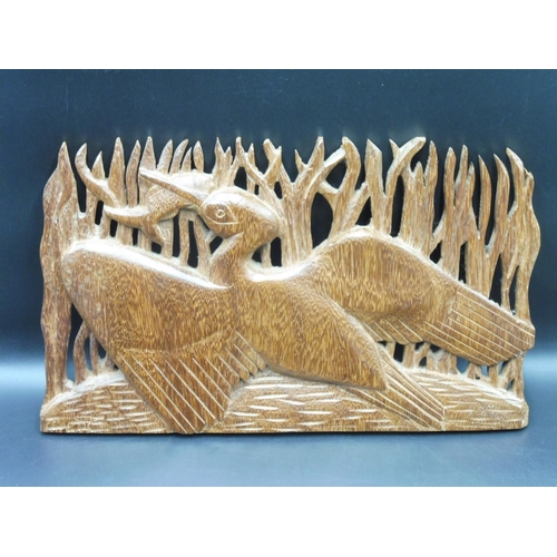 22 - Hand Carved Wooden Plaque 15.5