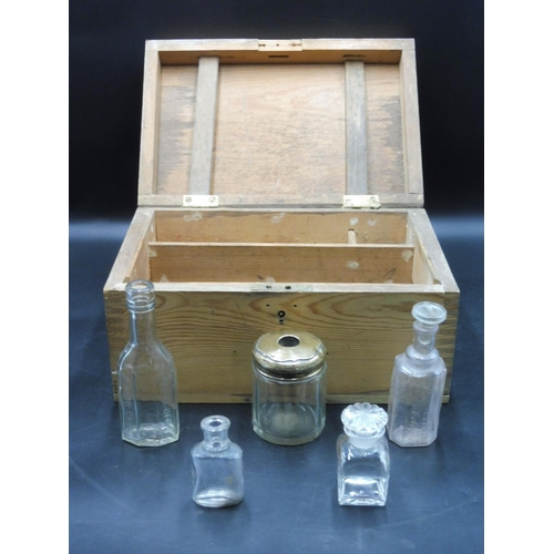23 - Wooden box complete with Silver topped Jar and bottles...