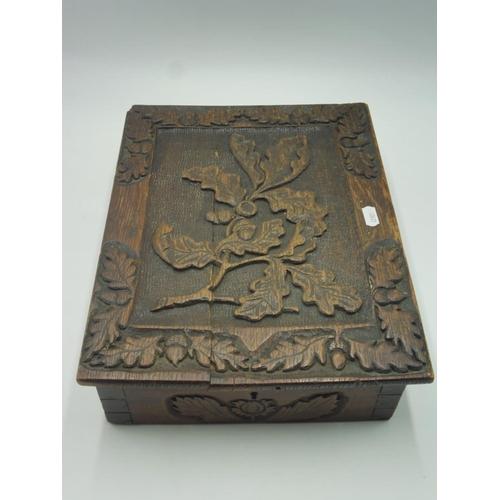 24 - Antique Hand Carved Acorn Wooden Storage Box (10.5