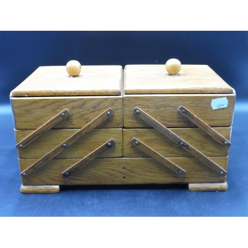 27 - Cantilever Oak Sewing Box (13