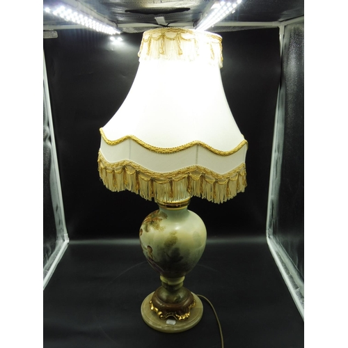 36 - Hand painted Ceramic Table Lamp complete with Shade (32