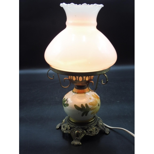 39 - Vintage Hurricane Table Lamp Hand Painted Floral (working when tested)...