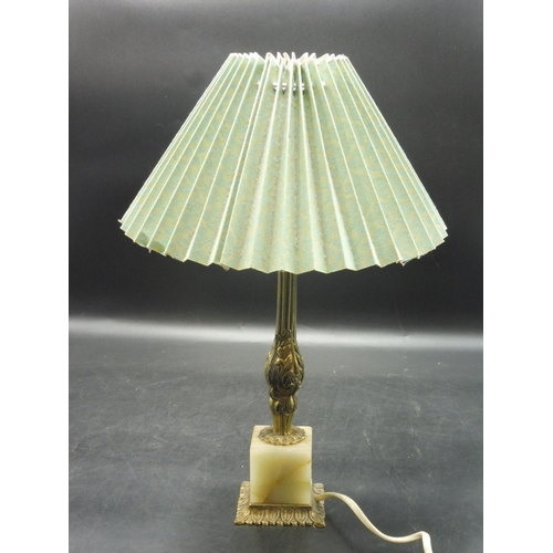 40 - Vintage Brass and Onyx Table Lamp with shade (working when tested)...