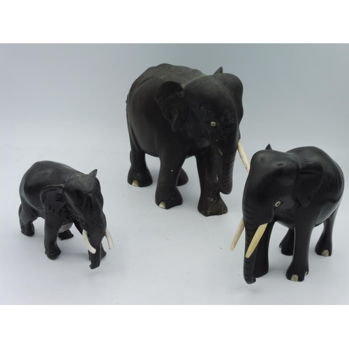 43 - Three Elephants, Largest is approx 13 cm tall x 15cm long...