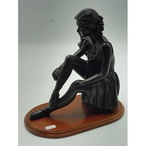 49 - Vintage bronzed Ballerina figurine on plinth 11.5