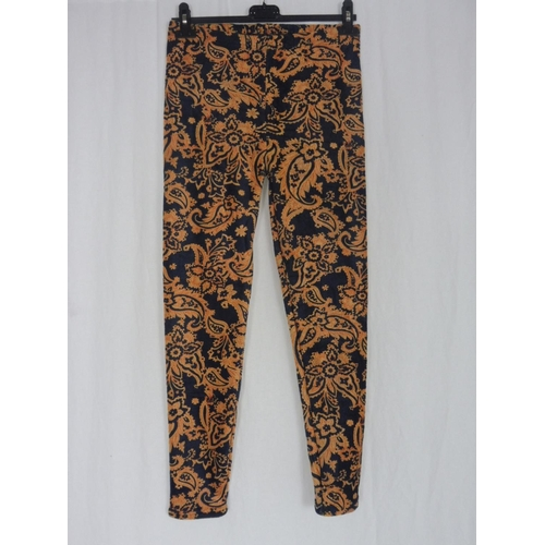 6 - Womens Floral Brown Black Leggings Size L/XL...