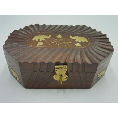 43 - Wood Lined Storage Box inlaid with Brass Elephants...