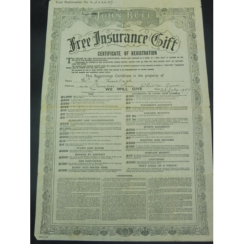 6 - John Bull Magazine Insurance Policy dated 1937...