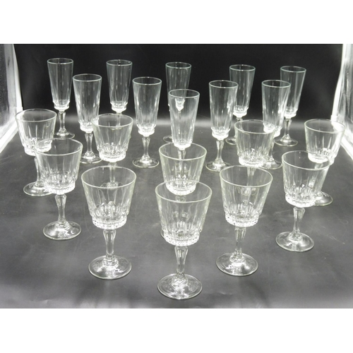 43 - Ten Clear Wine Glasses and Ten Clear Flute Glasses...