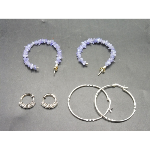 49 - Three Pairs of Silver Earrings...