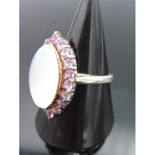 58 - Silver 925 Ring with Large Opal Stone and Amethyst Mount...