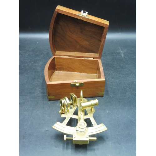 8 - Indian Sextant in Brass inlaid wooden box...