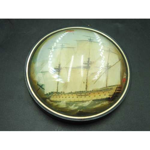 9 - Hand Made Cast Glass Paperweight depicting HMS Victory at Sea...