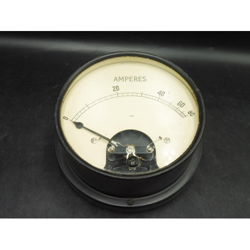 15 - British Made Metal Cased Amperes Meter (6
