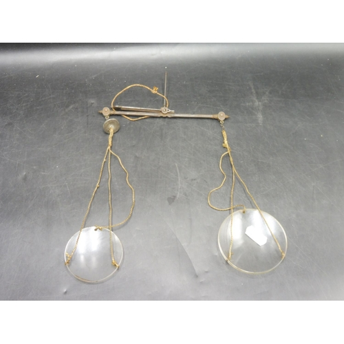20 - Pair of Vintage Hanging scale with glass plates...