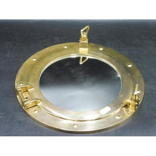 27 - Vintage Brass porthole Mirror...