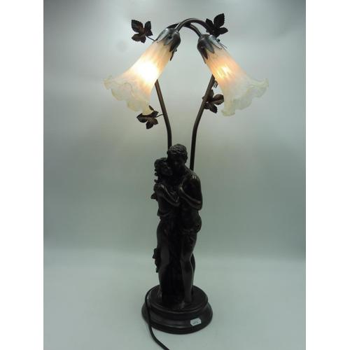 38 - Vintage art Nouveau bronze effect table lamp 26