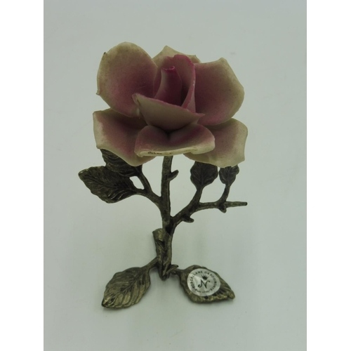 41 - Capodimonte Rose on Metal stand...