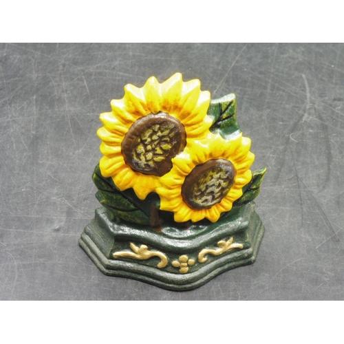 42 - Cast Iron Sunflower Door Stopper 4