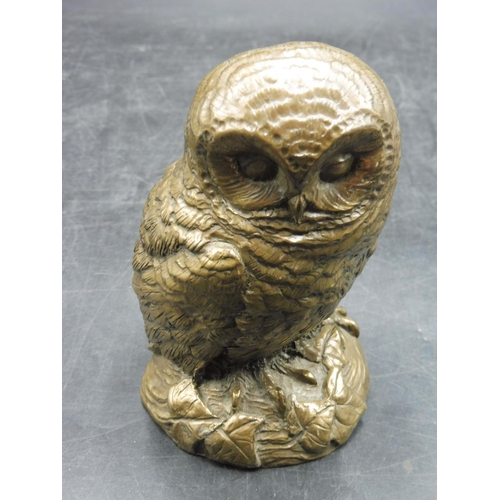 43 - Heavy Handmade Brass Effect Owl 4.5