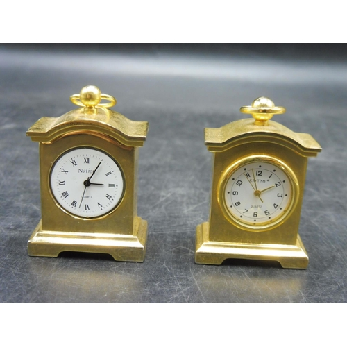 46 - Two Miniature Brass Clocks including Kaytime and Nation...