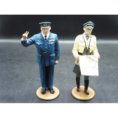 51 - Soldado de Plomo Winston Churchill and Field Marshall Rommel Hand Painted Military Figures (9