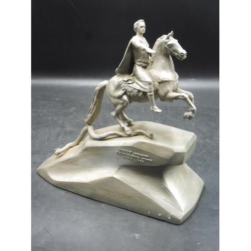 54 - Vintage Soviet Russian Metal Sculpture Statue of  Peter the Great 10.5