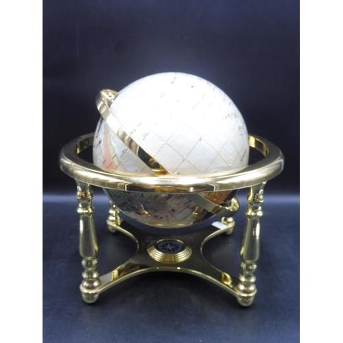 35 - Gemstone Globe With Semi Precious Stones & Compass...