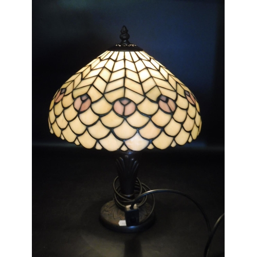 42 - Tiffany Style Table Lamp with Bronze Effect Base 17