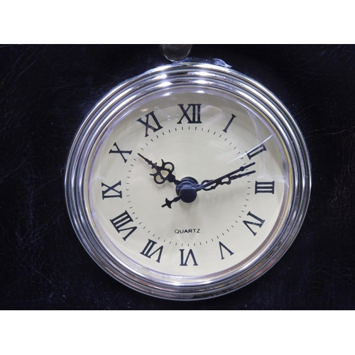 47 - Leather Effect Vintage Storage box with Quartz Clock and catch lid...